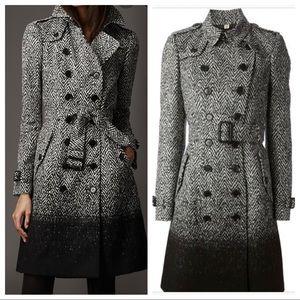 Burberry herringbone tweed grey trench coat jacket